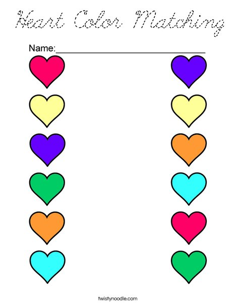 Heart Color Matching Coloring Page