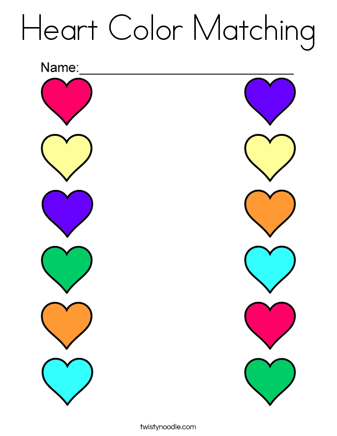 Heart Color Matching Coloring Page - Twisty Noodle