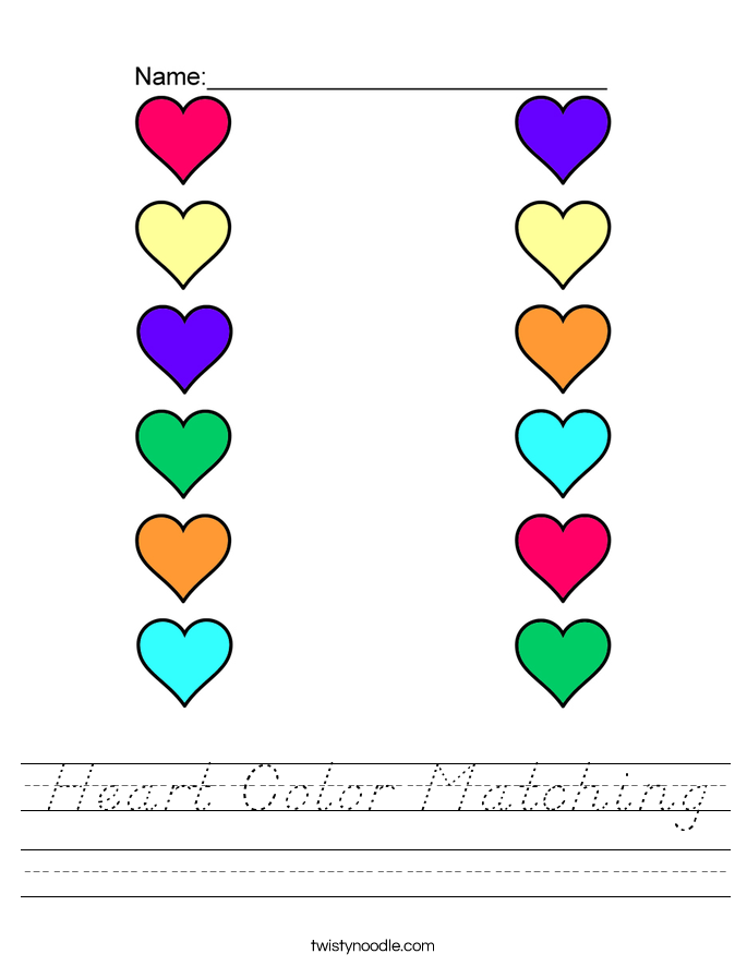 Heart Color Matching Worksheet
