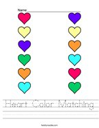 Heart Color Matching Handwriting Sheet