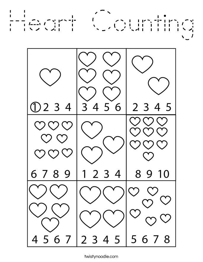 Heart Counting Coloring Page