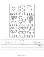 Heart Counting Handwriting Sheet