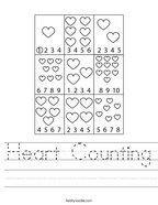 Heart Counting Handwriting Sheet