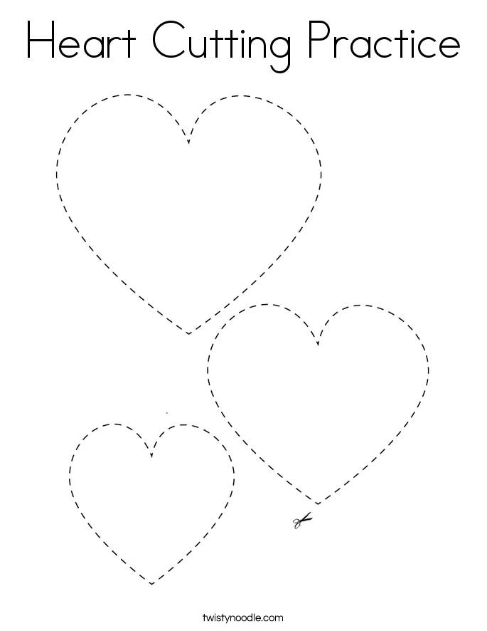 Heart Cutting Practice Coloring Page