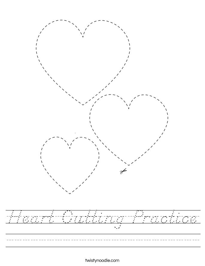 Heart Cutting Practice Worksheet