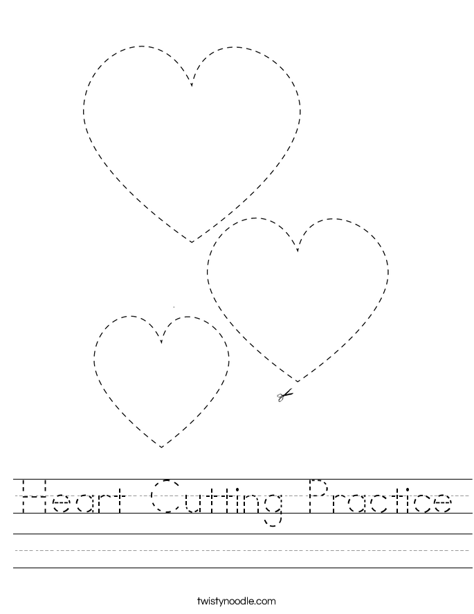 Heart Cutting Practice Worksheet
