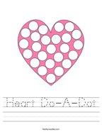 Heart Do-A-Dot Handwriting Sheet