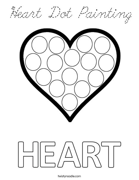Heart Dot Painting Coloring Page
