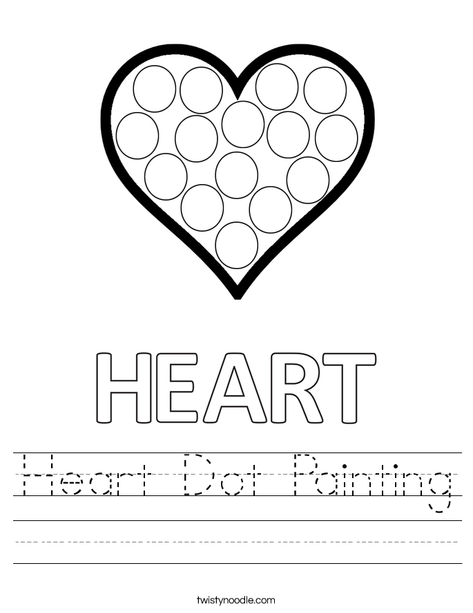 Heart Dot Painting Worksheet