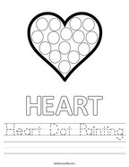 Heart Dot Painting Handwriting Sheet