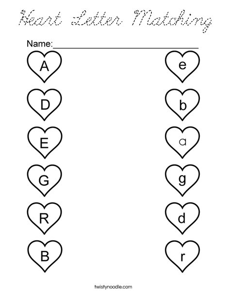 Heart Letter Matching Coloring Page