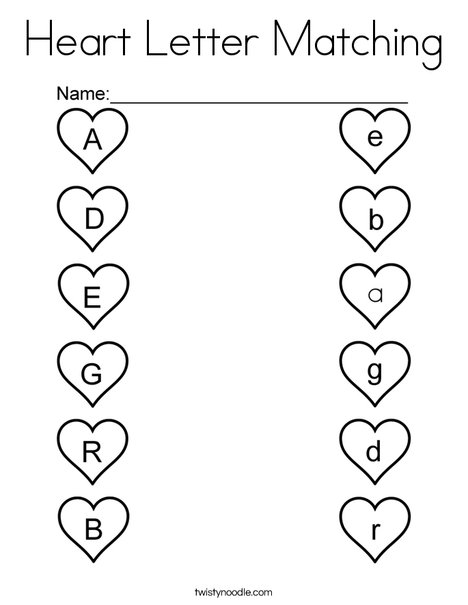 Heart Letter Matching Coloring Page - Twisty Noodle