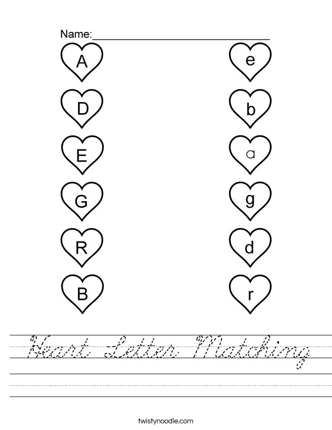 Heart Letter Matching Worksheet