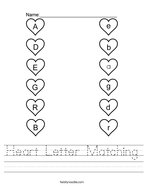 Heart Letter Matching Handwriting Sheet