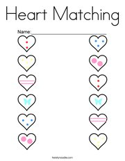 Heart Matching Coloring Page