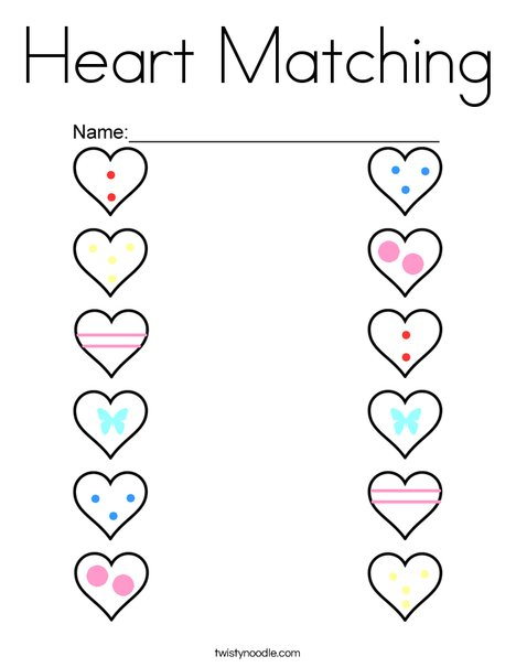 Heart Matching Coloring Page - Twisty Noodle