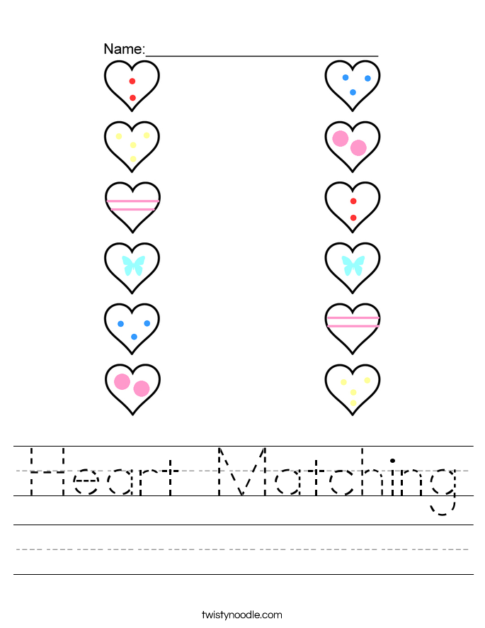 Heart Matching Worksheet