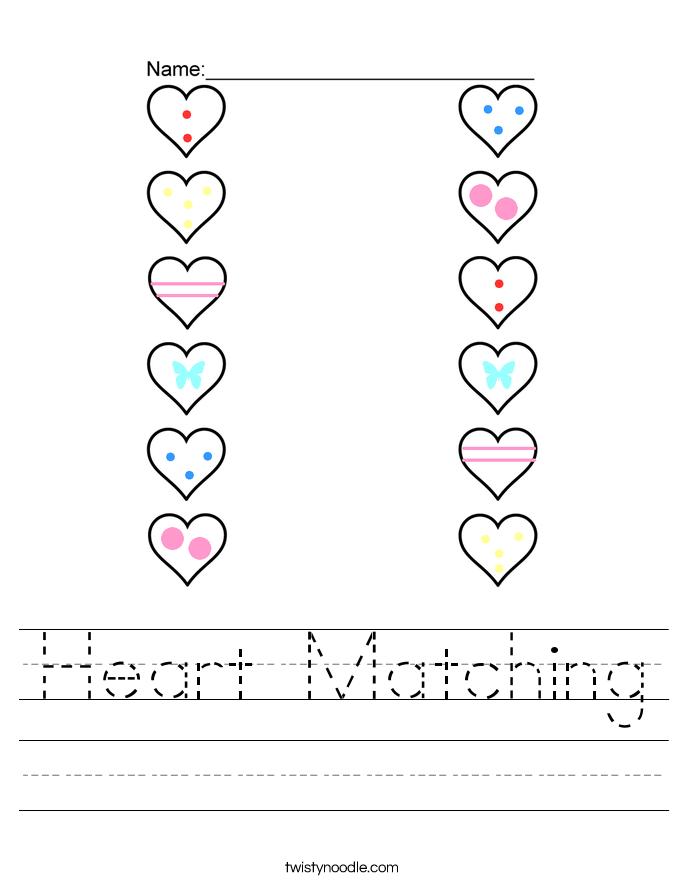 Heart Matching Worksheet