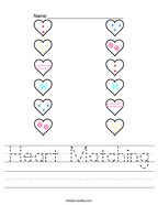 Heart Matching Handwriting Sheet