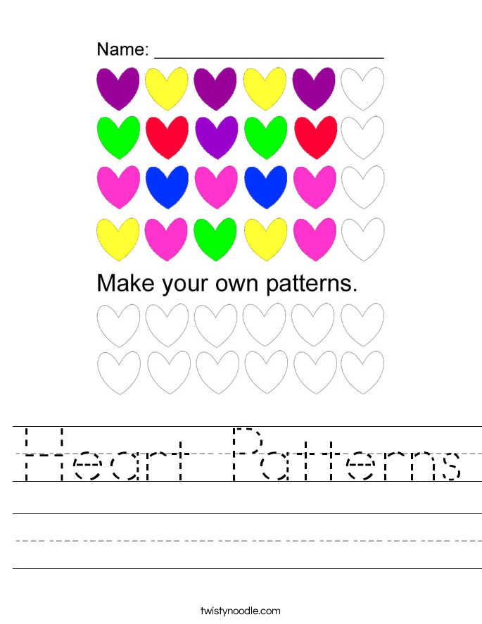Heart Patterns Worksheet