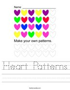 Heart Patterns Handwriting Sheet