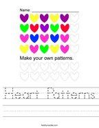 Heart Patterns Handwriting Sheet