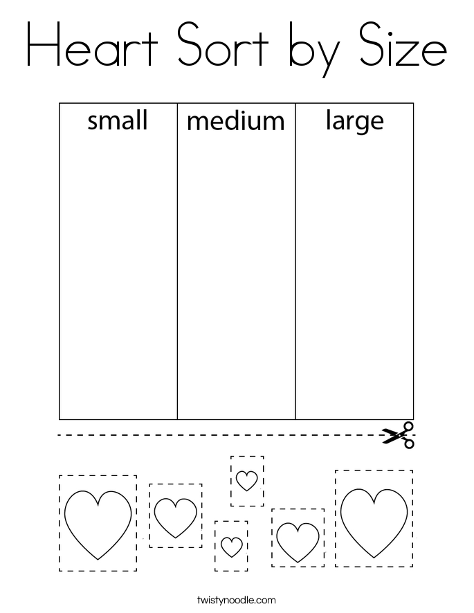Heart Sort by Size Coloring Page