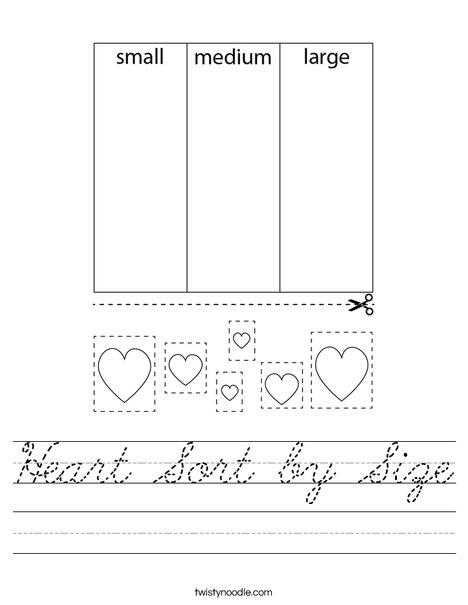 Heart Sort by Size Worksheet