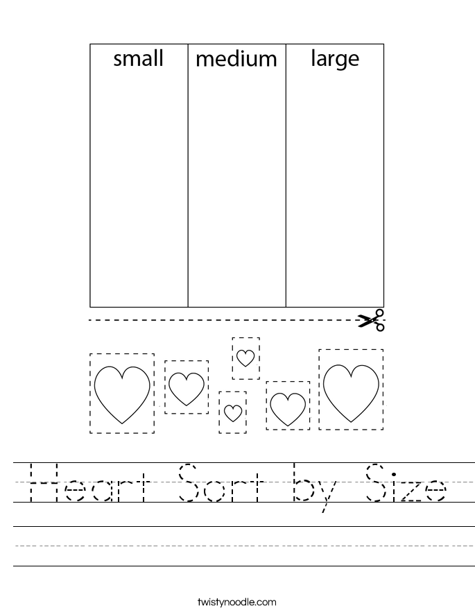 Heart Sort by Size Worksheet