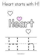 Heart starts with H Coloring Page