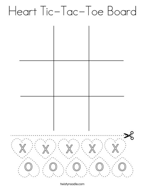 Heart Tic-Tac-Toe Board Coloring Page