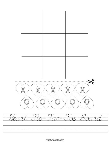 Heart Tic-Tac-Toe Board Worksheet