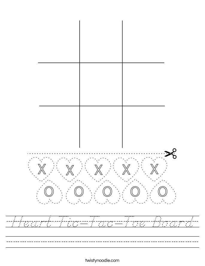 Heart Tic-Tac-Toe Board Worksheet