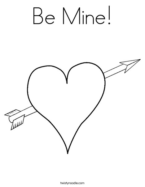 Heart with arrow coloring page