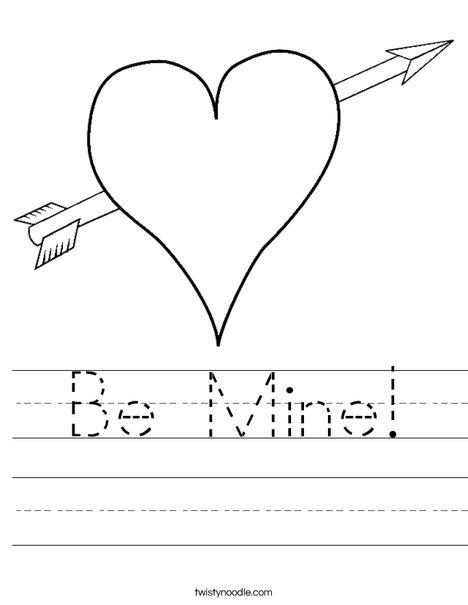 Heart with Arrow Worksheet