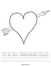 V is for Valentine's Day! Worksheet