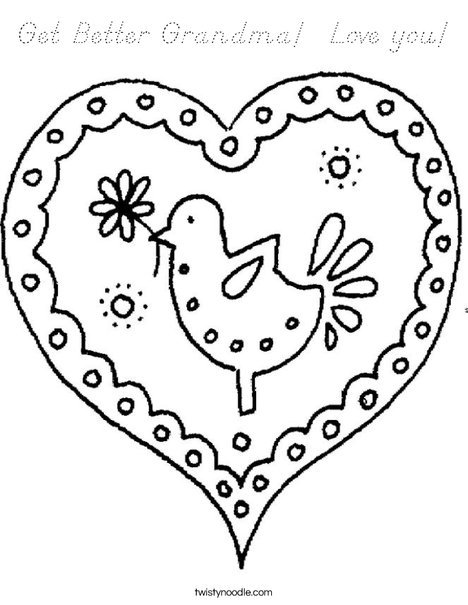 Heart with Bird Coloring Page