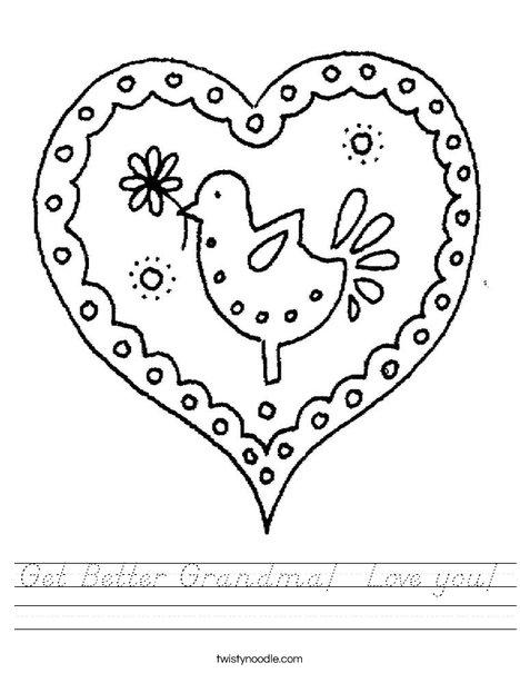 Heart with Bird Worksheet