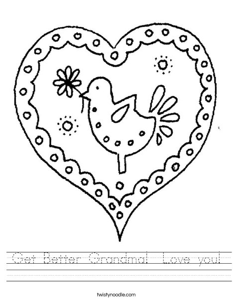 Heart with Bird Worksheet