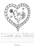 I Love you Mom Handwriting Sheet