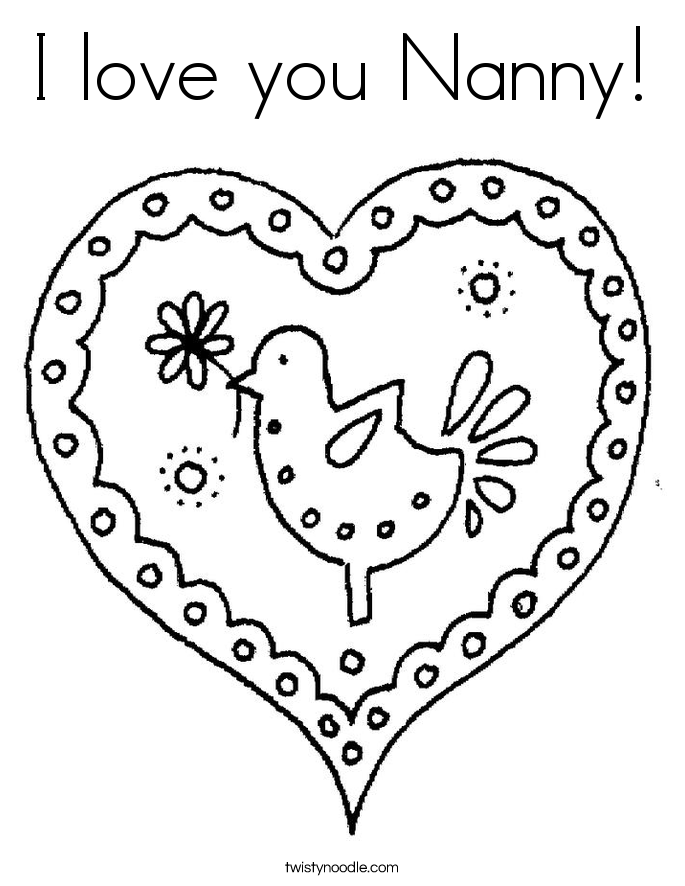 I love you Nanny! Coloring Page