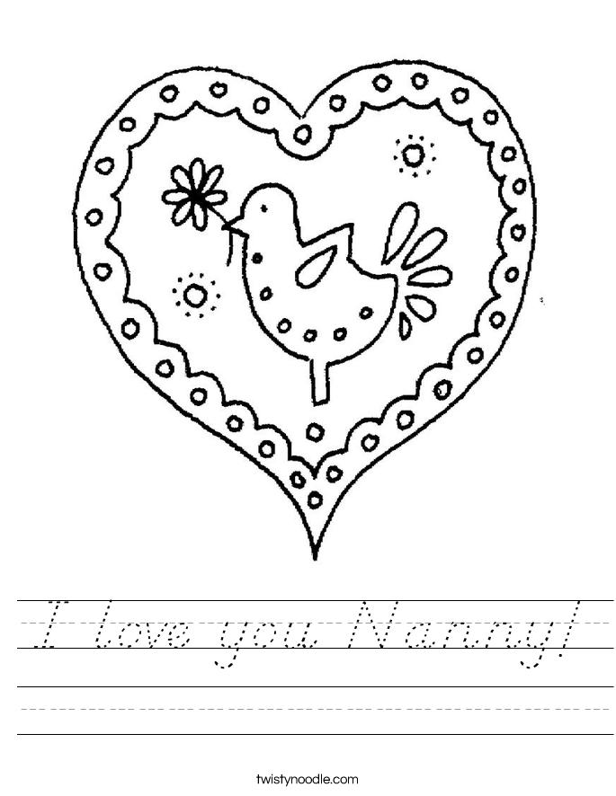 I love you Nanny! Worksheet