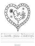 I love you Nanny! Worksheet