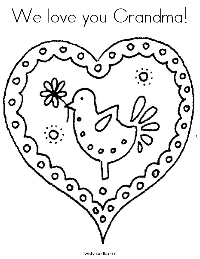 We love you Grandma Coloring Page
