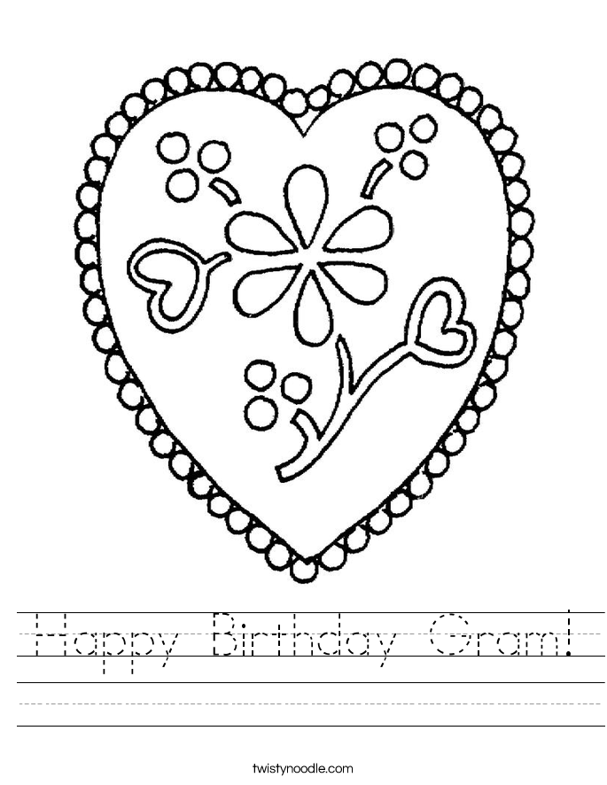Happy Birthday Gram! Worksheet