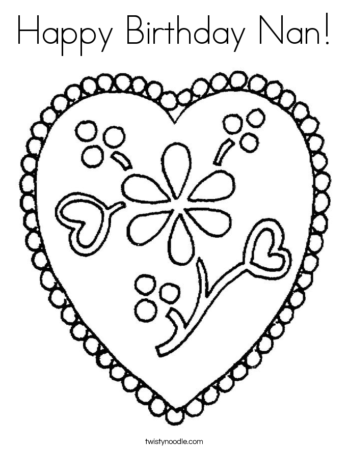 Happy Birthday Nan! Coloring Page