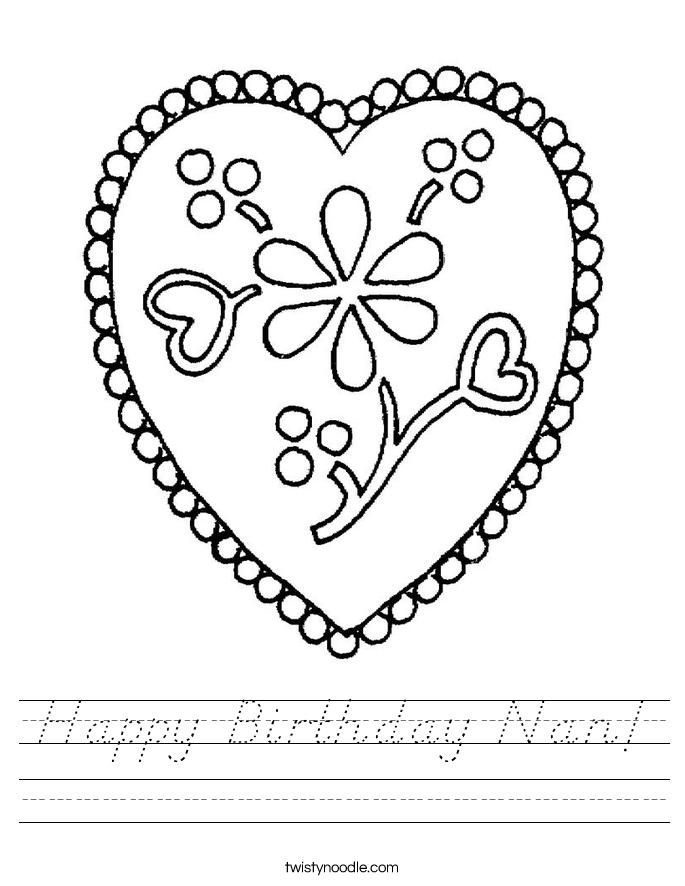 Happy Birthday Nan Worksheet - D'Nealian - Twisty Noodle