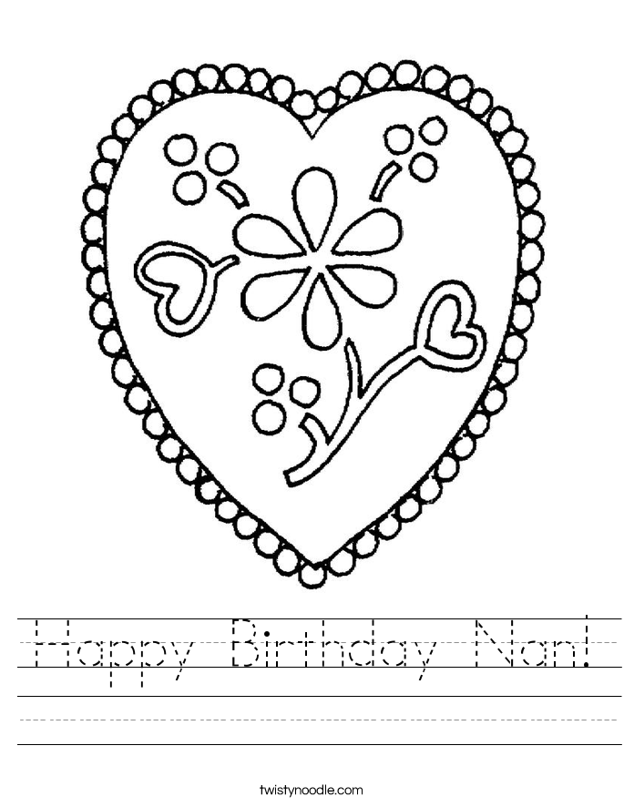 Happy Birthday Nan! Worksheet