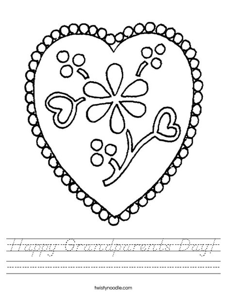 Heart with Flowers Worksheet