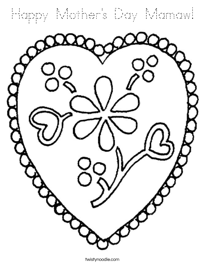 Happy Mother's Day Mamaw! Coloring Page